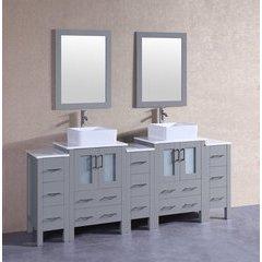 "84"" AGR224CBEPS3S Double Vanity w/ Pheonix Stone Top-Gray"