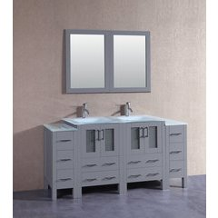 "72"" AGR224EWGU2S Double Vanity w/ Tempered Glass Top-Gray"