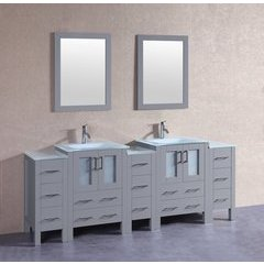 "84"" AGR224EWGU3S Double Vanity w/ Tempered Glass Top-Gray"