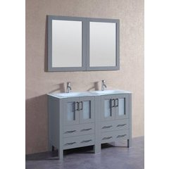 "48"" AGR224EWGU Double Vanity w/ Tempered Glass Top-Gray"