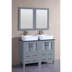 "48"" AGR224RCBG Double Vanity w/ Tempered Glass Top-Gray"