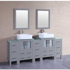 "84"" AGR224RCCWG3S Double Vanity w/ Tempered Glass Top-Gray"