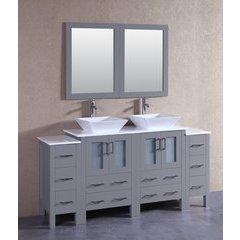 """72"""" AGR224S2S Double Vanity w/ Pheonix Stone Top-Gray"""