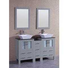 "60"" AGR224SQBG1S Double Vanity w/ Tempered Glass Top-Gray"
