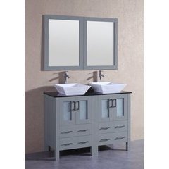 "48"" AGR224SQBG Double Vanity w/ Tempered Glass Top-Gray"
