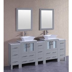 "84"" AGR224SQCM3S Double Vanity w/ White Carrara Top-Gray"