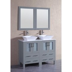 "48"" AGR224SQCM Double Vanity w/ White Carrara Top-Gray"