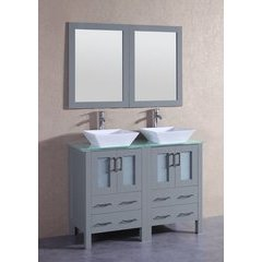"""48"""" AGR224SQCWG Double Vanity w/ Tempered Glass Top-Gray"""