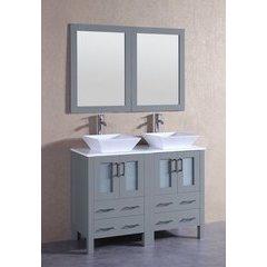 """48"""" AGR224S Double Vanity w/ Pheonix Stone Top-Gray"""