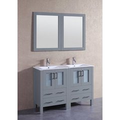 "48"" AGR224U Double Vanity w/ White Ceramic Top-Gray"