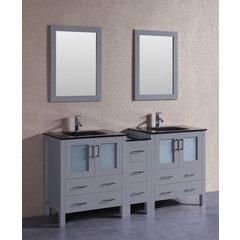 "72"" AGR230BGU1S Double Vanity w/ Tempered Glass Top-Gray"