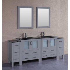 "84"" AGR230BGU2S Double Vanity w/ Tempered Glass Top-Gray"