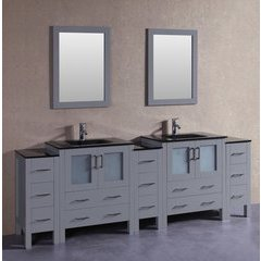 "96"" AGR230BGU3S Double Vanity w/ Tempered Glass Top-Gray"