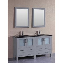 "60"" AGR230BGU Double Vanity w/ Tempered Glass Top-Gray"