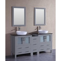 """72"""" AGR230BWLBG1S Double Vanity w/ Tempered Glass Top-Gray"""