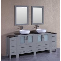 """84"""" AGR230BWLBG2S Double Vanity w/ Tempered Glass Top-Gray"""