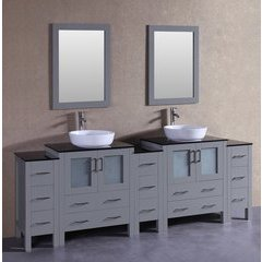 """96"""" AGR230BWLBG3S Double Vanity w/ Tempered Glass Top-Gray"""