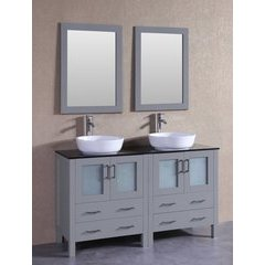 """60"""" AGR230BWLBG Double Vanity w/ Tempered Glass Top-Gray"""