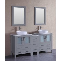 "72"" AGR230BWLCM1S Double Vanity w/ White Carrara Top-Gray"