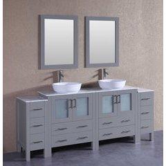 "84"" AGR230BWLCM2S Double Vanity w/ White Carrara Top-Gray"