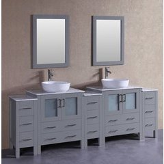 "96"" AGR230BWLCM3S Double Vanity w/ White Carrara Top-Gray"