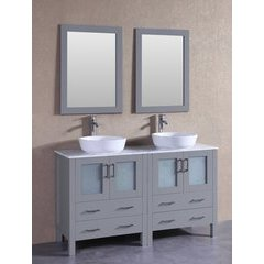 "60"" AGR230BWLCM Double Vanity w/ White Carrara Top-Gray"