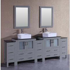 "96"" AGR230CBEBG3S Double Vanity w/ Tempered Glass Top-Gray"