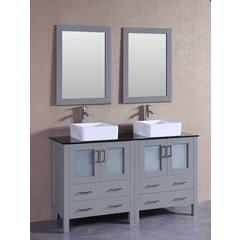 "60"" AGR230CBEBG Double Vanity w/ Tempered Glass Top-Gray"