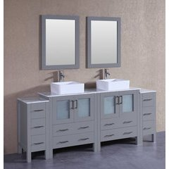 "84"" AGR230CBECM2S Double Vanity w/ White Carrara Top-Gray"