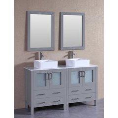 "60"" AGR230CBECM Double Vanity w/ White Carrara Top-Gray"