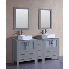 "72"" AGR230CBECWG1S Double Vanity w/ Tempered Glass Top-Gray"