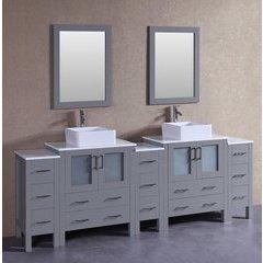 "96"" AGR230CBEPS3S Double Vanity w/ Pheonix Stone Top-Gray"