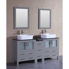 "72"" AGR230RCBG1S Double Vanity w/ Tempered Glass Top-Gray"