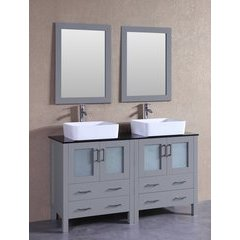 """60"""" AGR230RCBG Double Vanity w/ Tempered Glass Top-Gray"""