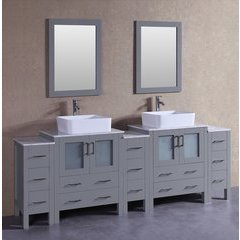 "96"" AGR230RCCM3S Double Vanity w/ White Carrara Top-Gray"