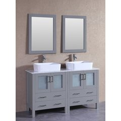 "60"" AGR230RCCM Double Vanity w/ White Carrara Top-Gray"