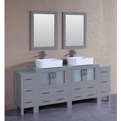 "84"" AGR230RCCWG2S Double Vanity w/ Tempered Glass Top-Gray"