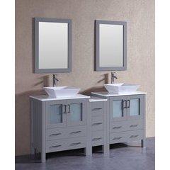 """72"""" AGR230S1S Double Vanity w/ Pheonix Stone Top-Gray"""