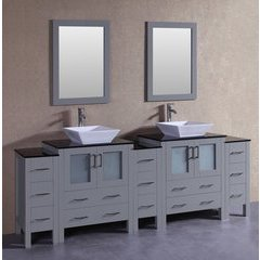 "96"" AGR230SQBG3S Double Vanity w/ Tempered Glass Top-Gray"