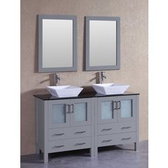 "60"" AGR230SQBG Double Vanity w/ Tempered Glass Top-Gray"