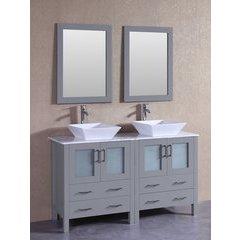 "60"" AGR230SQCM Double Vanity w/ White Carrara Top-Gray"