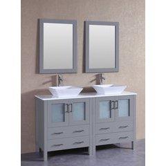 """60"""" AGR230S Double Vanity w/ Pheonix Stone Top-Gray"""