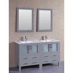 "60"" AGR230U Double Vanity w/ White Ceramic Top-Gray"