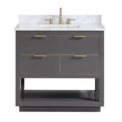 "37"" Allie Combo Vanity - Carrara White Marble Top"
