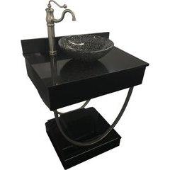 31 Inch Ascetic Single Sink Bathroom Vanity with Black Nickel Pebble Vessel Sink - Black