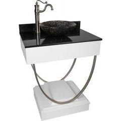31 Inch Ascetic Single Sink Bathroom Vanity with Black Nickel Pebble Vessel Sink - White