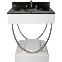 31 Inch Ascetic Single Sink Bathroom Vanity with Black Nickel Pebble Undermount/Drop-In Sink - White
