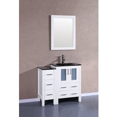 "36"" AW124 Single Vanity w/ Tempered Glass Top-White"