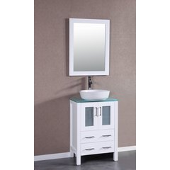 "24"" AW124 Single Vanity w/ Tempered Glass Top-White"
