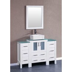 "48"" AW124 Single Vanity w/ Tempered Glass Top-White"